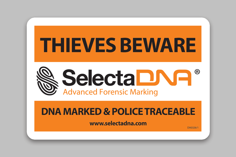 SelectaDNA Warning Sticker (120x80mm)