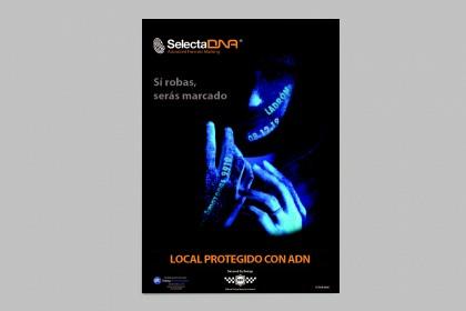 "Afiche de advertencia de SelectaDNA, Leyenda ""Roba y serás Marcado"" tamaño A3"