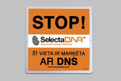 SelectaDNA āra brīdinājuma zīme (Oranža 30x30cm)