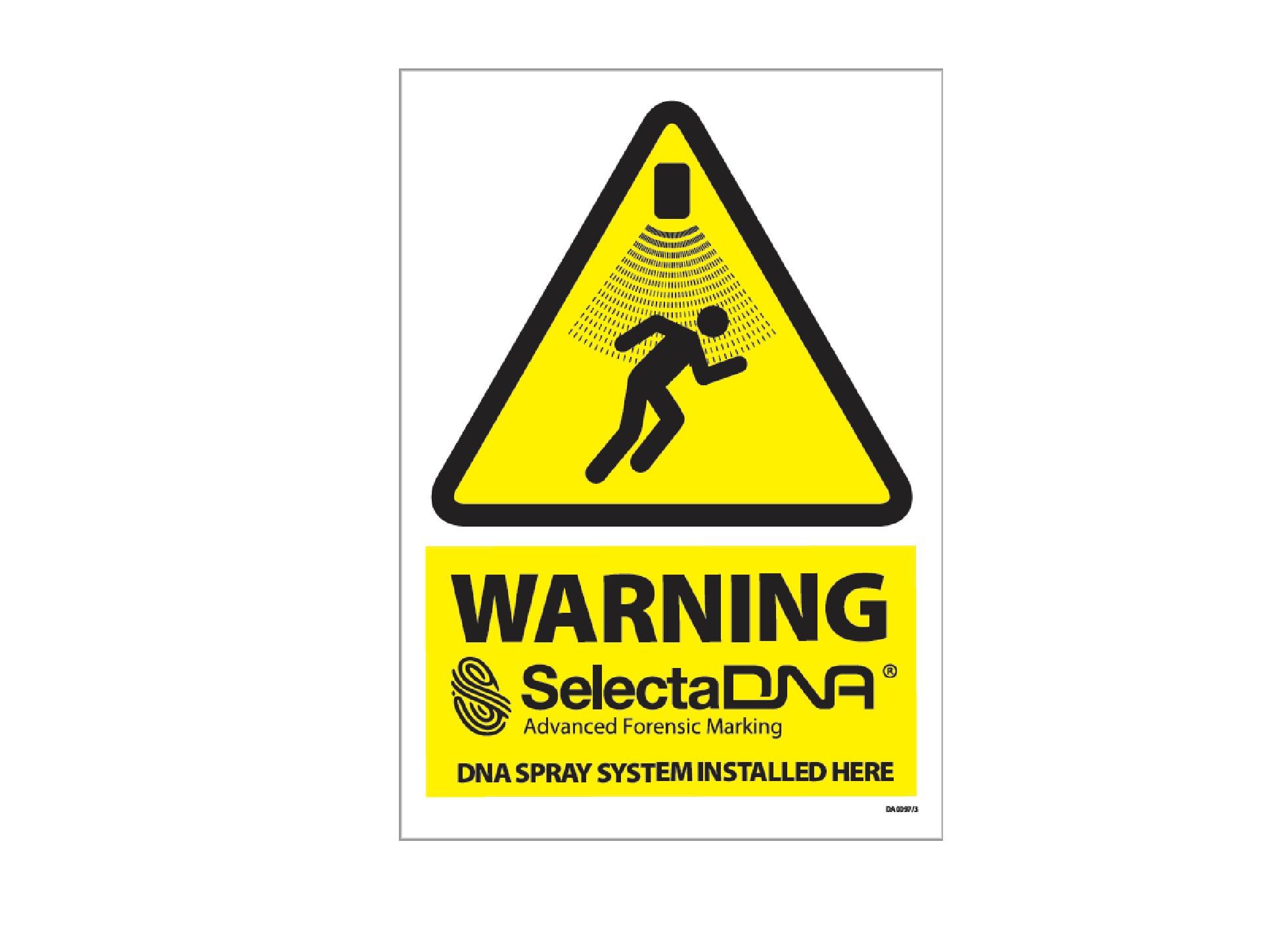SelectaDNA Spray Warning Sign (Window)