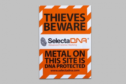 SelectaDNA A5 Metal Theft Warning Sticker