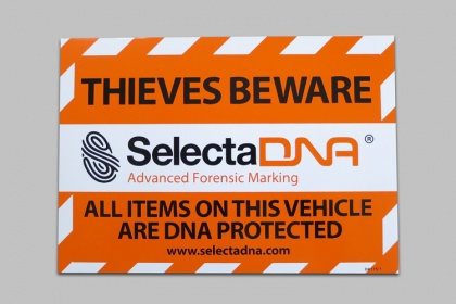 SelectaDNA A5 Vehicle Warning Sticker