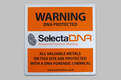 SelectaDNA Valuable Metals Outdoor Warning Sign