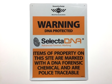 SelectaDNA Outdoor Warning Sign (Orange 40x30cm)