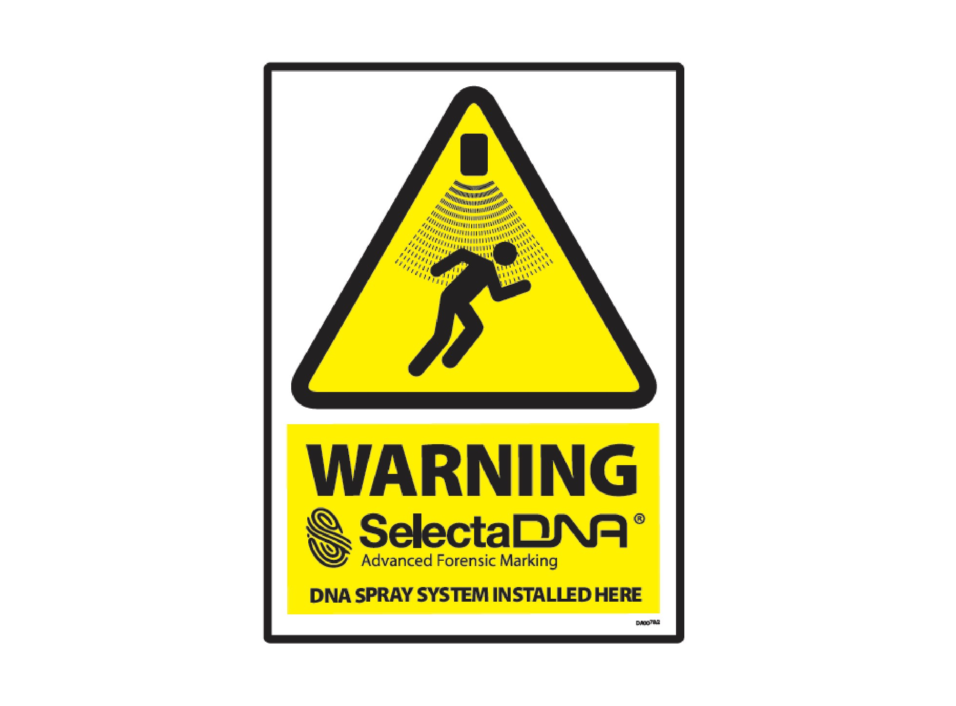 SelectaDNA Spray Outdoor Warning Sign (Yellow 40x30cm)