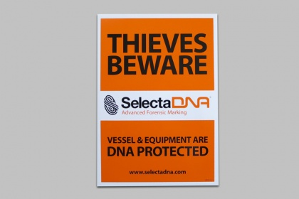 SelectaDNA A5 Marine Theft Warning Sticker